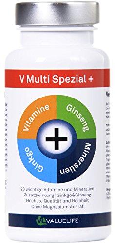 V Multi Spezial: Multivitamin + Multimineral hochdosiert | 23 Vitamine & Mineralien mit Extrakraft aus Ginkgo Biloba & Panax Ginseng | Optimale Bioverfügbarkeit für Körper und Geist | Stärkt das Immunsystem | Ohne Magnesiumstearat | Beste Qualität Made in Germany | 90 Kapseln