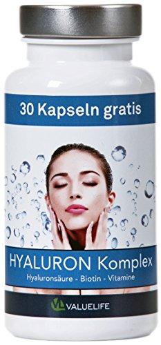Valuelife Hyaluron Komplex – Hyaluronsäure – Biotin – Panthotensäure + Vitamine – Ideale Verbindung für Haut + Anti Aging und Gelenke – rein natürlich und hoch dosiert – 90 vegane Kapseln (1*45g)
