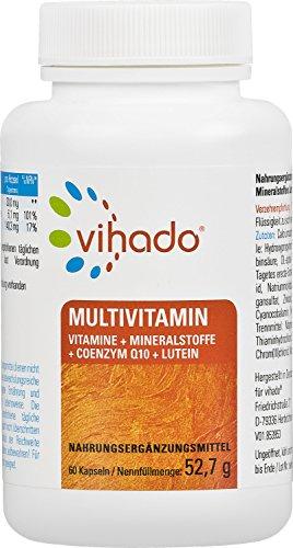 Vihado Multivitamin Tabletten hochdosiert – 26 Vitamine + Mineralstoffe + Q10 + Tagetes Erecta, 60 Kapseln, 1er Pack (1 x 52,7 g)
