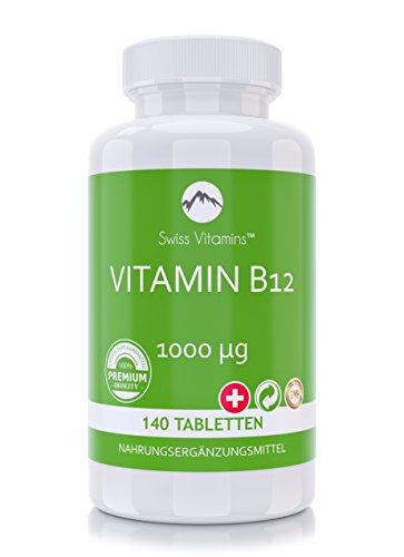 Swiss Vitamins – Vitamin B12 | 140 vegetarische Tabletten | 1000 µg hochdosiert | NEU | Stärkt den Energiestoffwechsel | Für gesundes Nerven- & Immunsystem, mehr Konzentration & geistige Leistungsfähigkeit