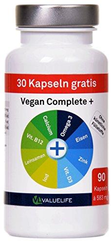 Vegan Complete+ — Veganes Calcium, Leinsamenpulver, DHA Omega 3, Eisen, Zink, Iod, Vitamin D und Vitamin B12. Speziell entwickelt zur Begleitung einer veganen Ernährung! 90 Kapseln à 583mg