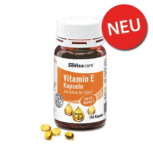 Vitamin E Kapseln | 150 Kapseln | Nahrungsergänzung | Zellschutz | Vitamine | Mineralstoffe