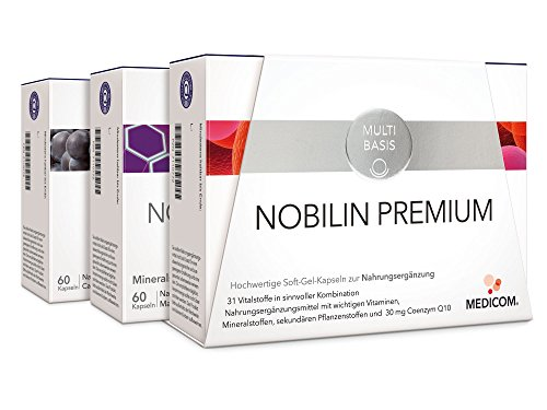 NOBILIN PREMIUM – 720 Soft-Gel-Kapseln: Nobilin Q10 Multivitamin, Nobilin Mineral Plus, Nobilin Lyco