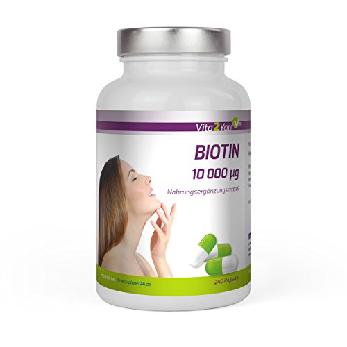 Biotin 10.000 mcg (Vitamin B7) 240 Kapseln – Hochdosiert – Für Haut und Haare – Premium Qualität – Made in Germany