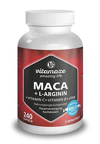 Maca Kapseln hochdosiert 4000 mg + L-Arginin 1800 mg + Vitamine + Zink, 240 Kapseln für 2 Monate