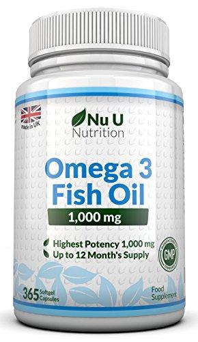 Omega 3 Fischöl 1000 mg von Nu U, 365 Kapseln (Versorgung für 12 Monate) – 100% GELD-ZURÜCK-GARANTIE – Maximale Stärke und Aufnahmefähigkeit – Hergestellt in Großbritannien