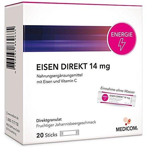 EISEN DIREKT 14 mg + Vitamin C – 20 Sticks – Nahrungsergänzung gegen Eisenmangel & Müdigkeit – Die Alternative zu Eisentabletten
