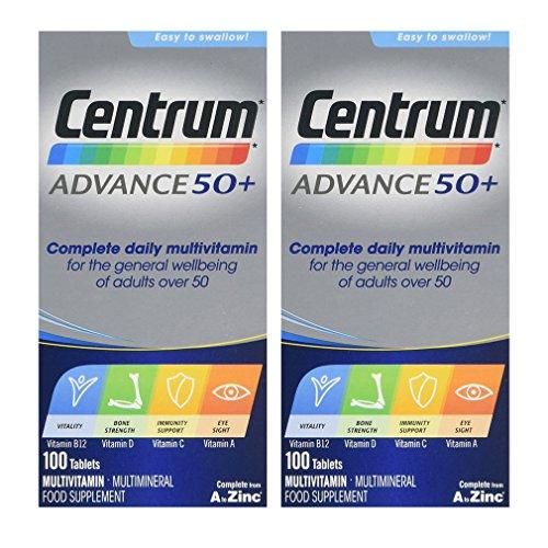 Centrum Advance 50 Plus Multivitamin Tablets, Pack of 100 x 2